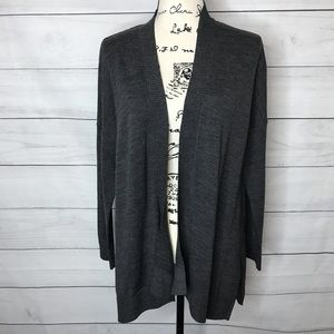 LOFT gray wool blend open cardigan M